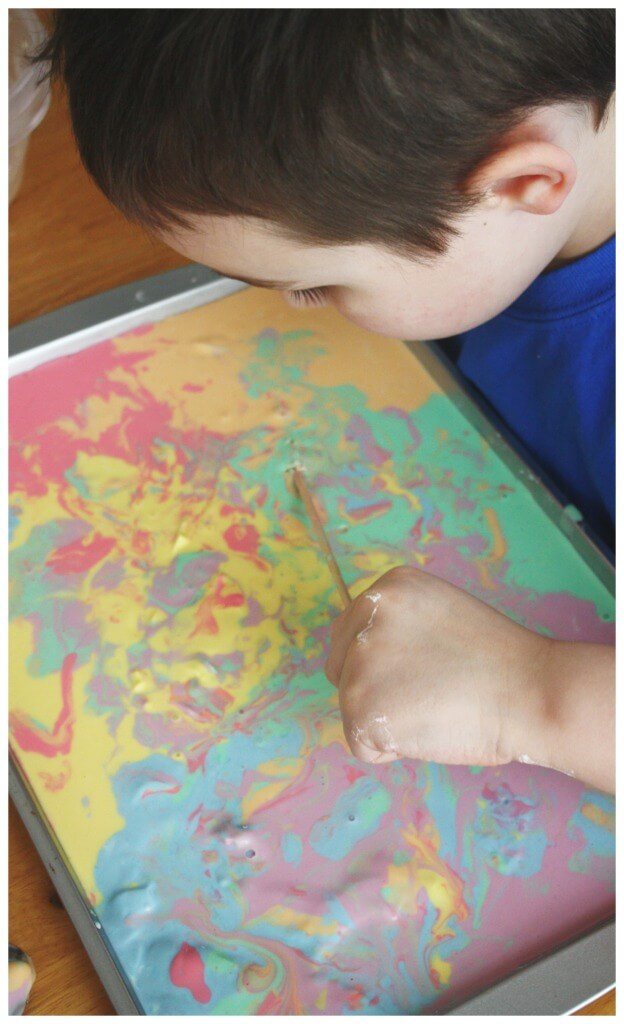 Rainbow Oobleck Science Art Painting Mixing Colors