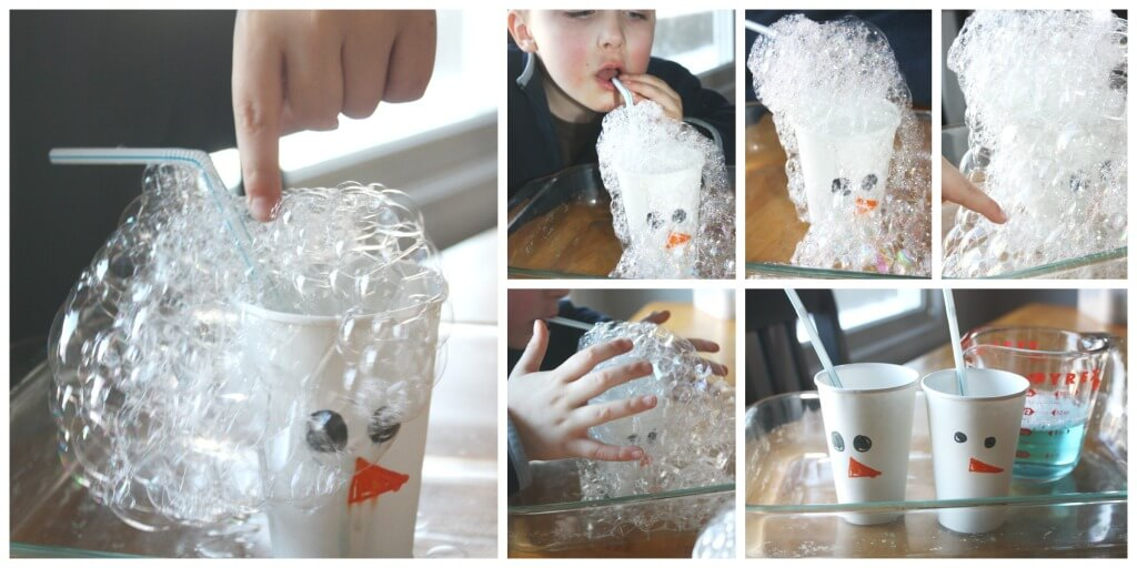 Winter Bubble Science Snowman Bubble blowing activity inddoor bubble play