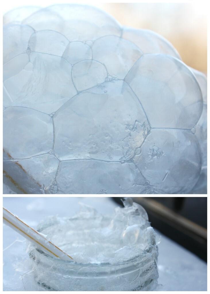 Winter bubbling blowing outdoors freezing bubbles frozen bubbles