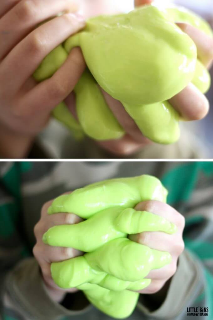 Flubber science with homemade flubber recipe that's easy to make.