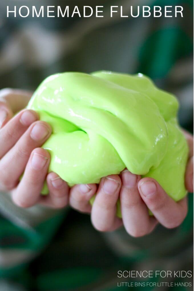 Make homemade flubber with kids for a cool chemistry science activity.