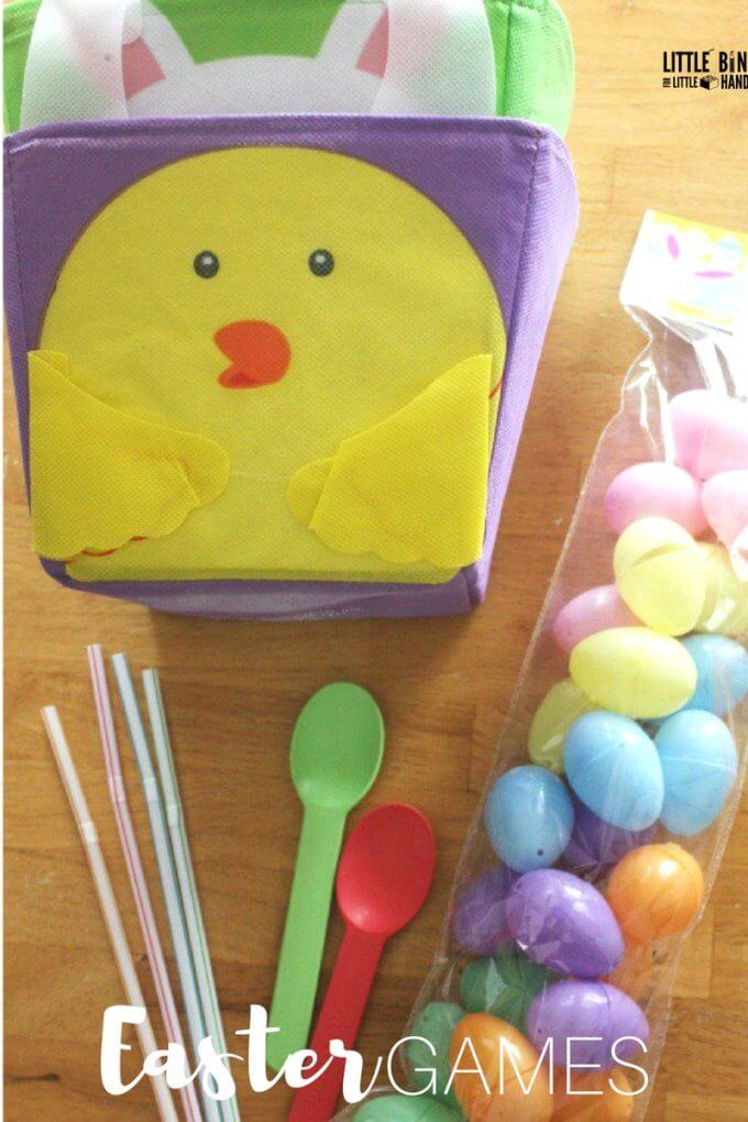Easter minute to win it game supplies with straws, spoons, and plastic eggs. Easy Easter games for kids of all ages perfect for home or classroom use at Easter parties.