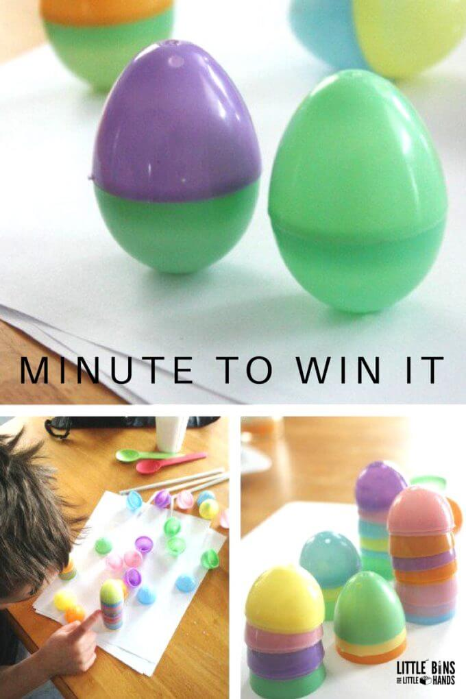 Stacking eggs and standing eggs challenges for Easter minute win it family games and classroom Easter party ideas.