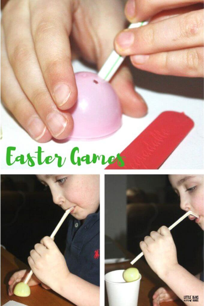 Egg and straw transfer minute to win it Easter games for kids Easter parties