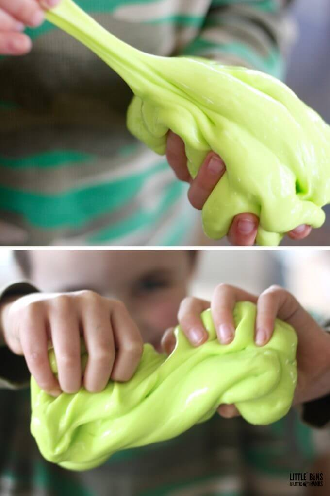 Thick flubber slime for science and sensory play