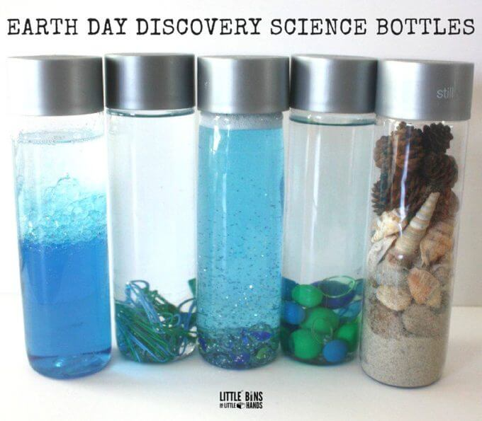 How to make Earth Day discovery bottles for Earth Day science with kids