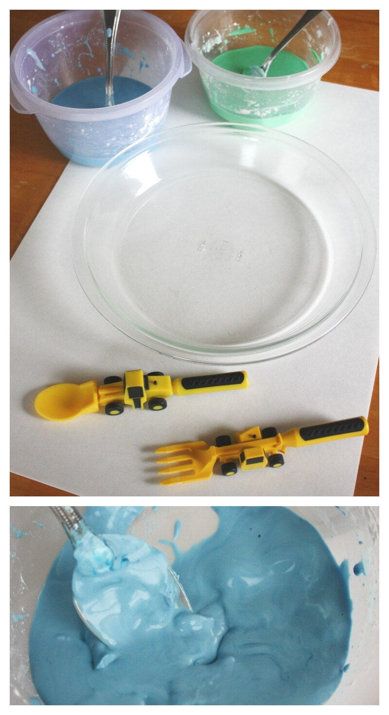 I Emptied The Two Colors Of Oobleck Into A Pie Plate To Represent The  Earth He Chose His Construction Vehicle Utensils To Play With The Earth  Goop