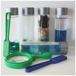 Earth Day Science Discovery Bottles Magnifying Glass and Magnets