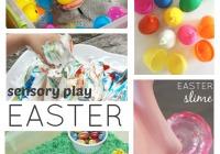 Easter Sensory Play Ideas Slime Rice Shaving Cream Texture Eggs Water Play