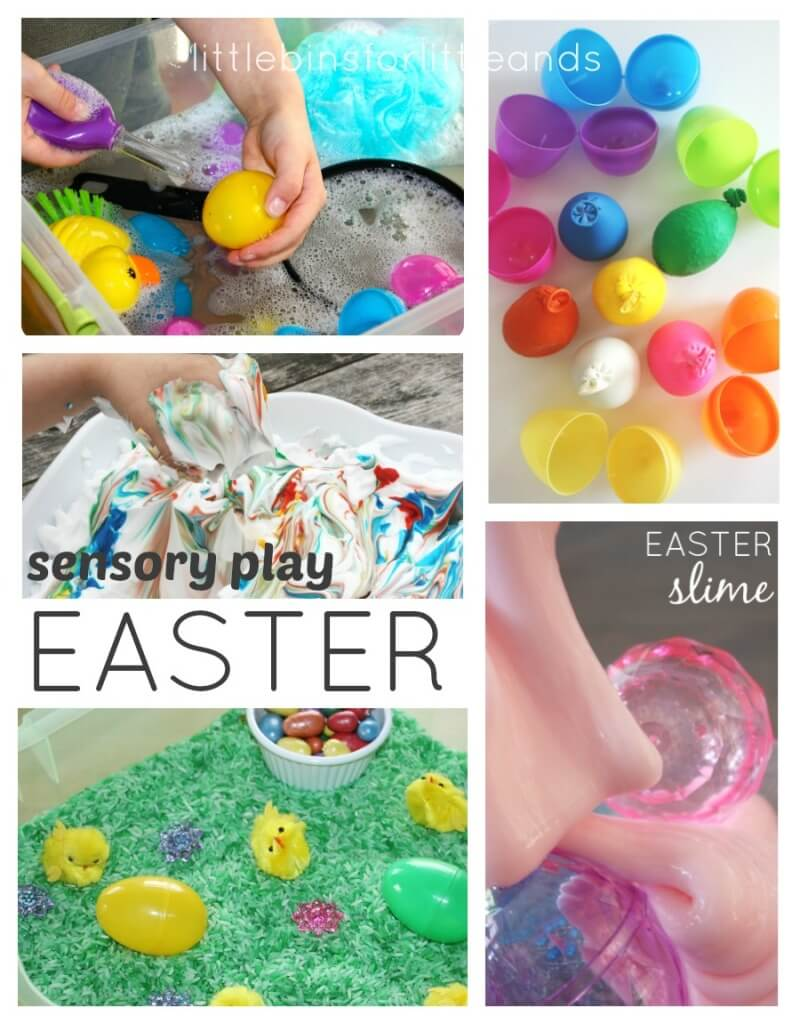 Easter Sensory Play Ideas Slime Rice Shaving Cream Texture Eggs Water Play
