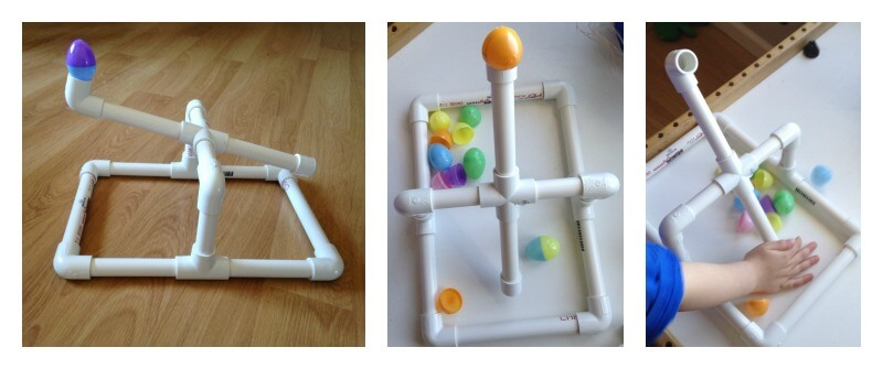 Egg Launcher made from pvc pipe pieces catapult