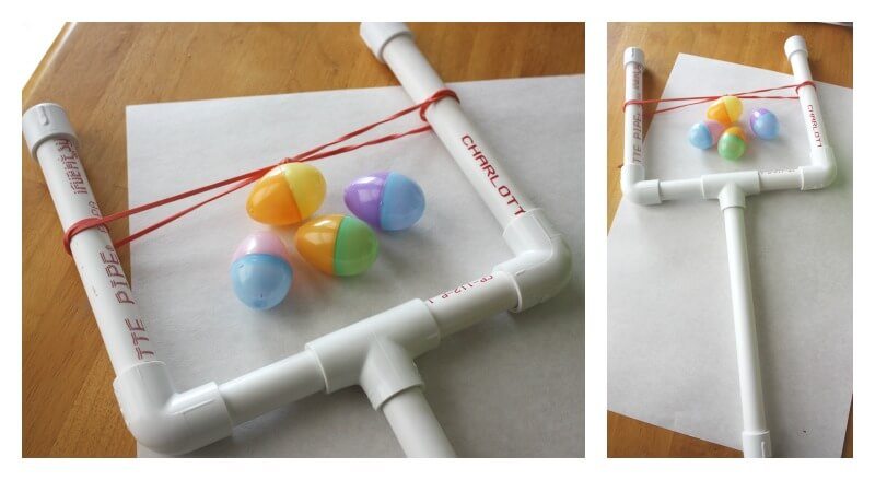 Egg launcher pvc pipe sling shot
