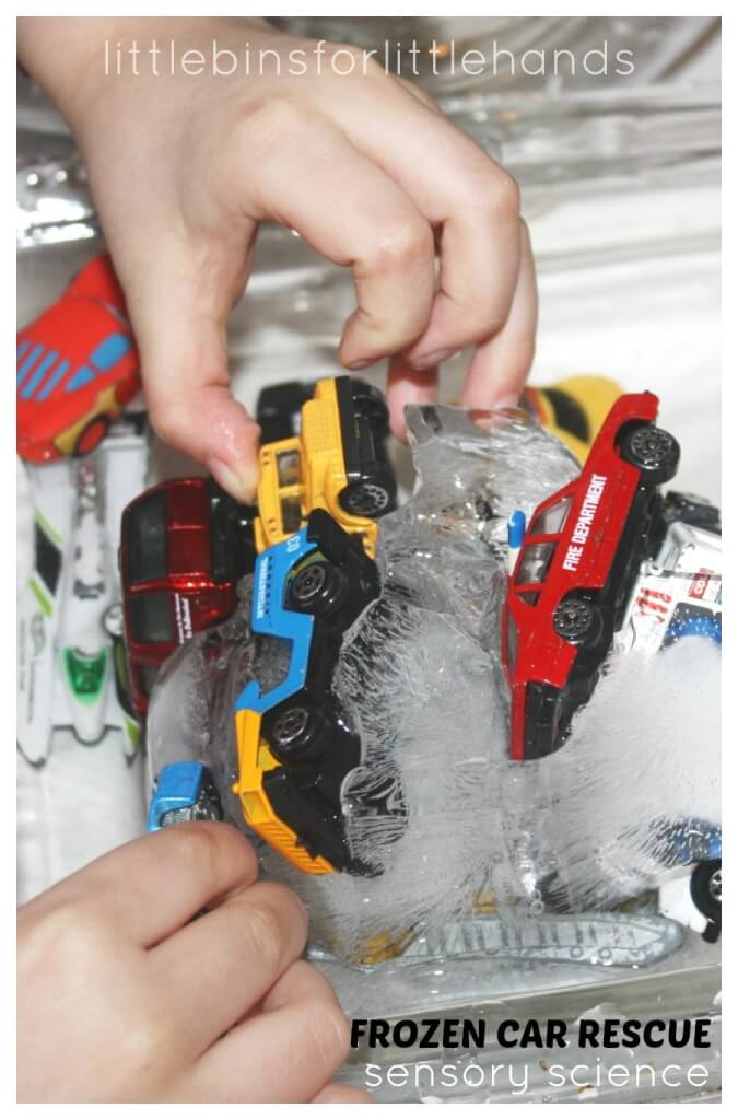 Frozen Car Rescue Sensory Science Melting Ice block