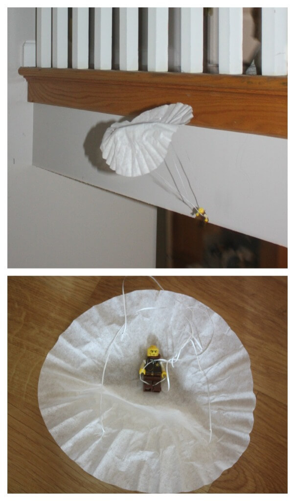 Lego Minifigure Parachute Coffee Filter In Flight and landing on ground
