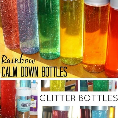 Rainbow glitter bottles calm down sensory bottle tool for kids Inexpensive to make idea.