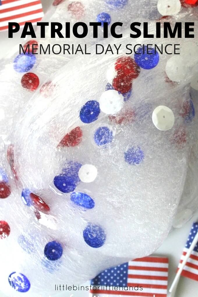 Patriotic Slime Memorial Day Science Homemade Slime for kids