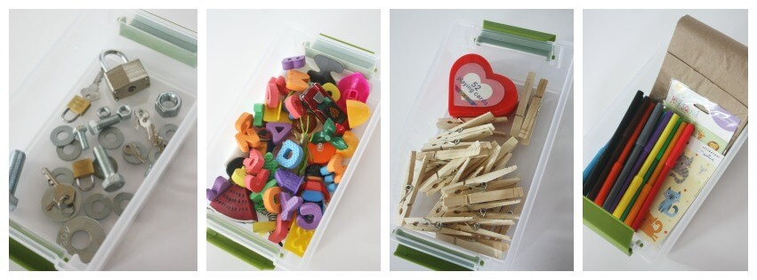 25 Busy Boxes Nuts Bolts keys Alphabet Math Drawing Paper Bag Puppets