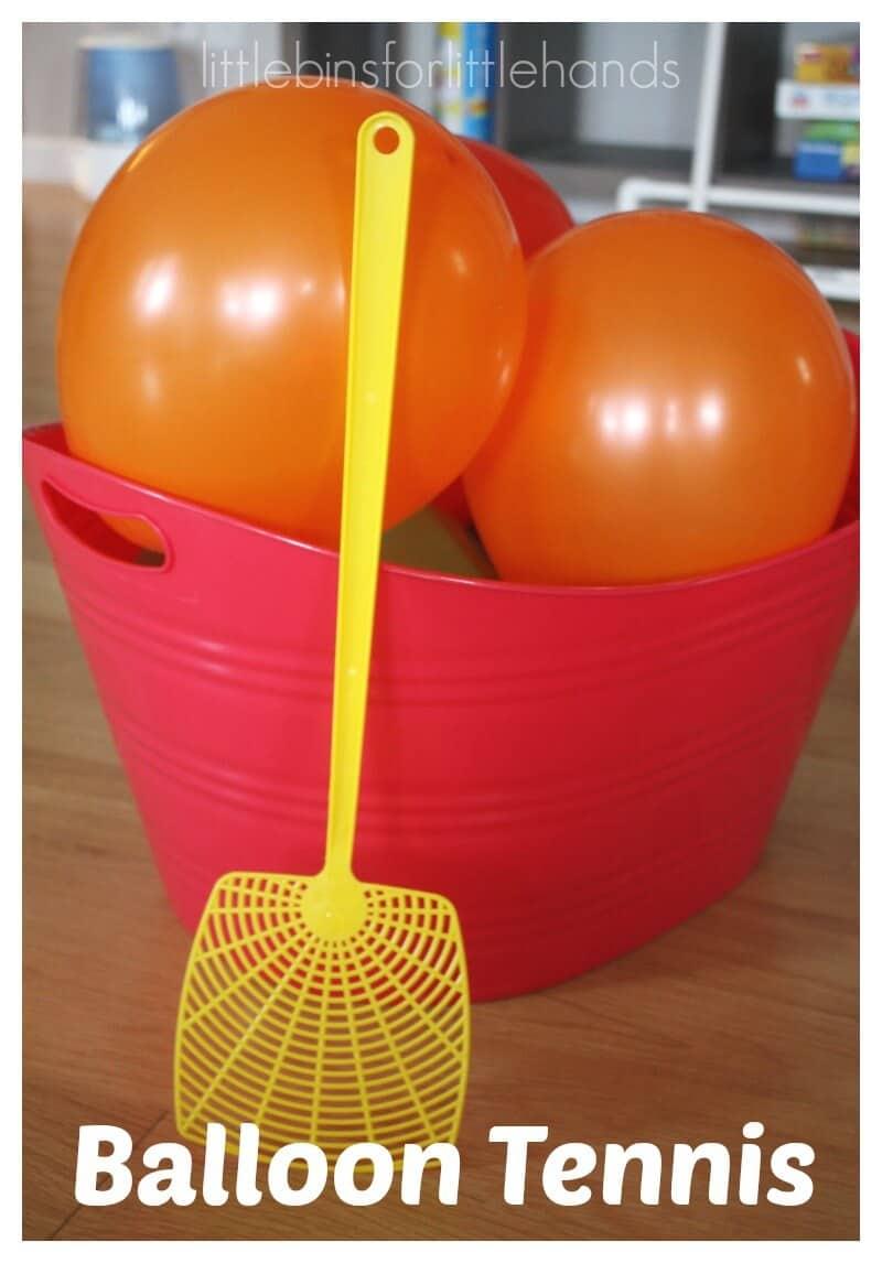 Balloon tennis indoor gross motor play activity for Fun balloon games for kids