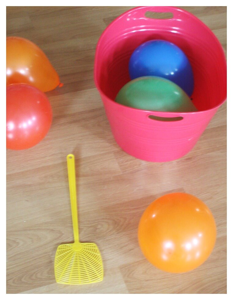Balloon Tennis Indoor Gross Motor Activity Fly Swatter and Balloons