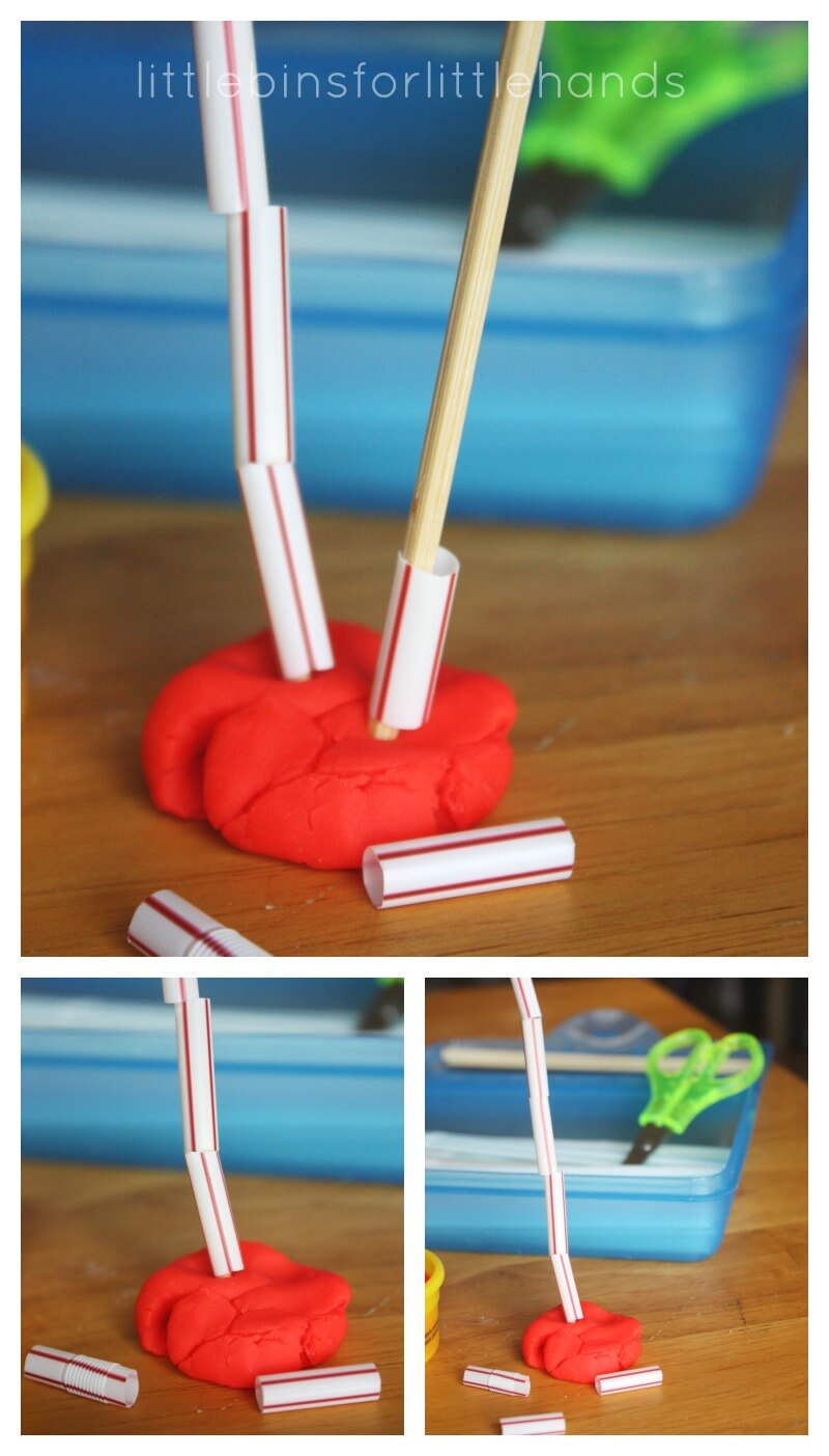 Cutting straws busy box scissor skills activity for Playdough fine motor skills