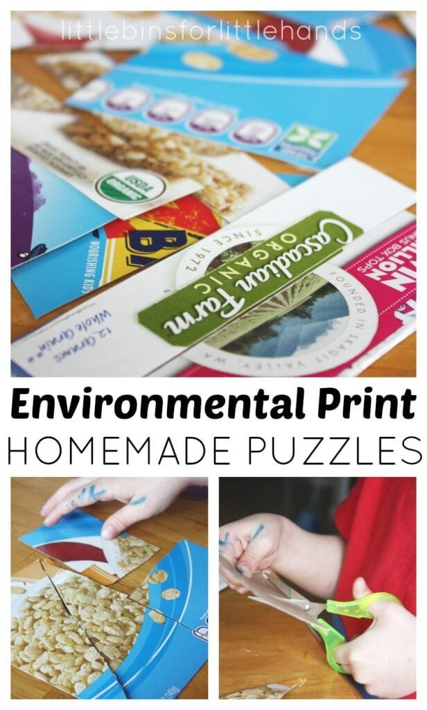 Environmental Print Puzzles Scissor Skills Homemade Puzzles