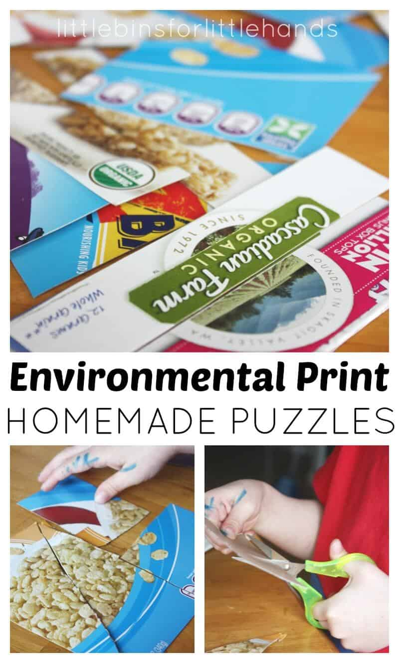 Environmental Print Puzzles Scissor Skills Activity