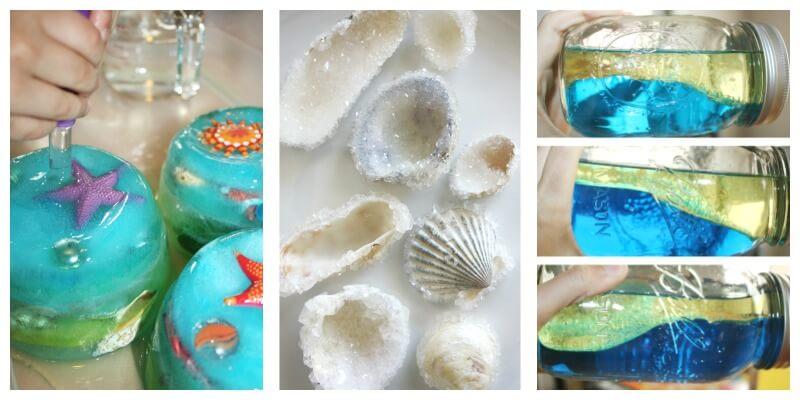 Ocean theme science activities wave bottle crystal shells ocean ice melt