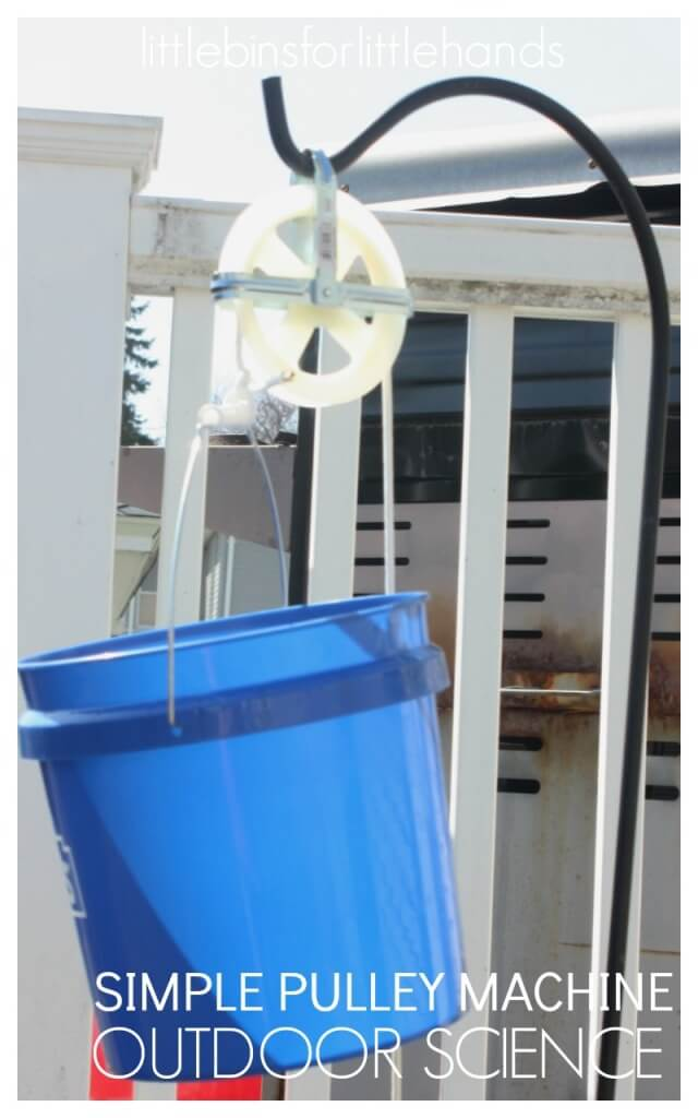 Homemade Outdoor pulley for kids Summer Science Activity