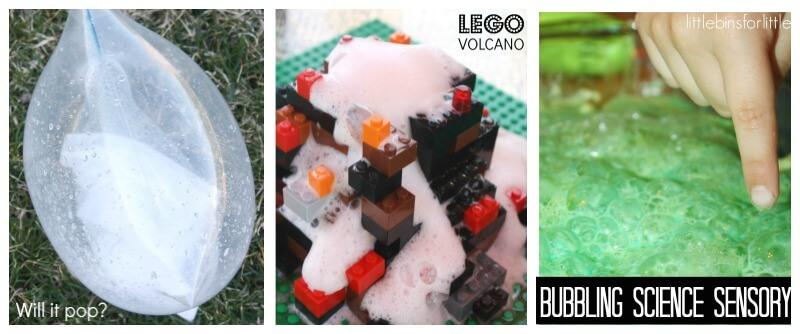 10 Summer Baking Soda Experiments Bursting Bags Lego Volcano Bubbling Cloud Dough