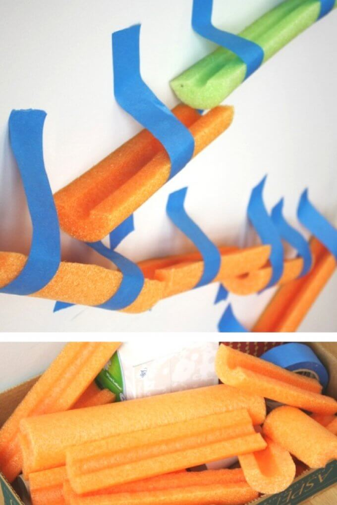 STEM supplies for pool noodle marble run activity