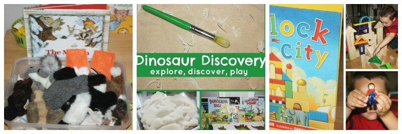 30 Book Activities preschool Play Ideas Blocks Dinosaurs