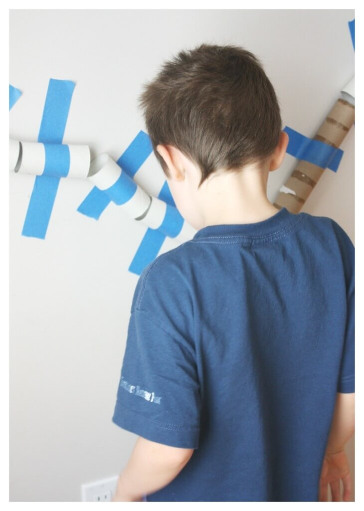 Building Marble Run with cardboard tubes