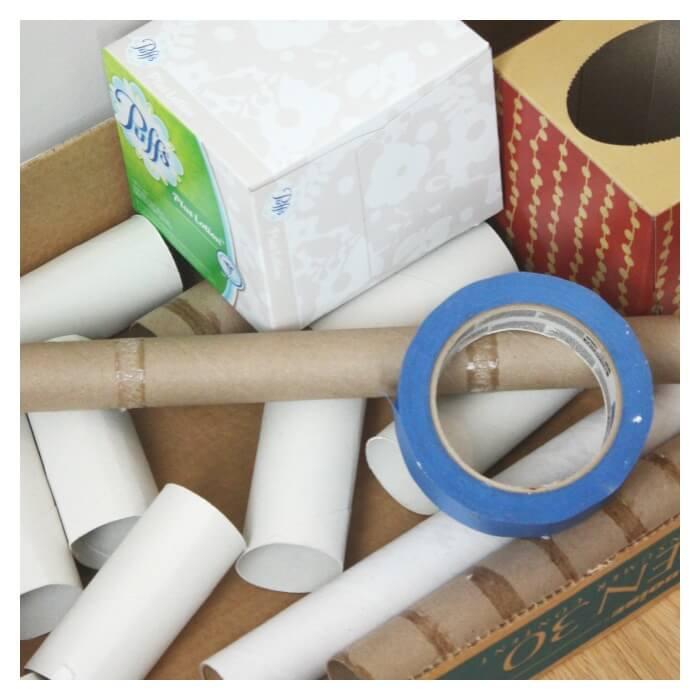 Cardboard Tube Marble Run materials
