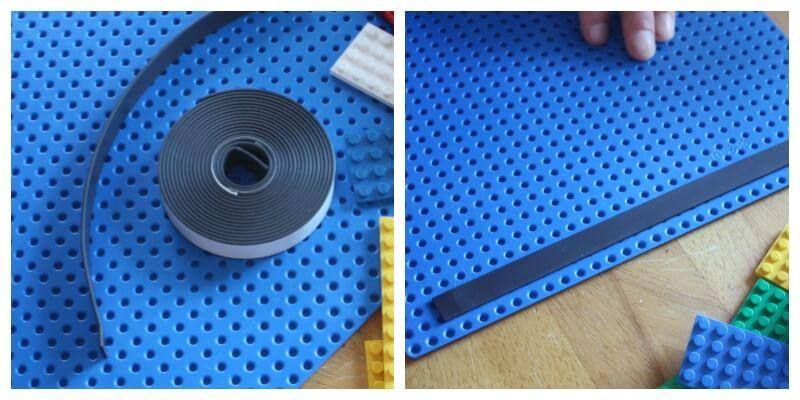 Lego Board Magnetic Lego Board for Fridge Applying magnet strip