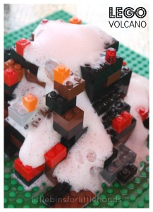 Lego Volcano Experiment baking Soda Vinegar Volcano