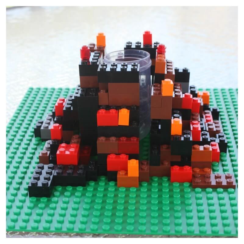 Lego Volcano Made from Lego Bricks