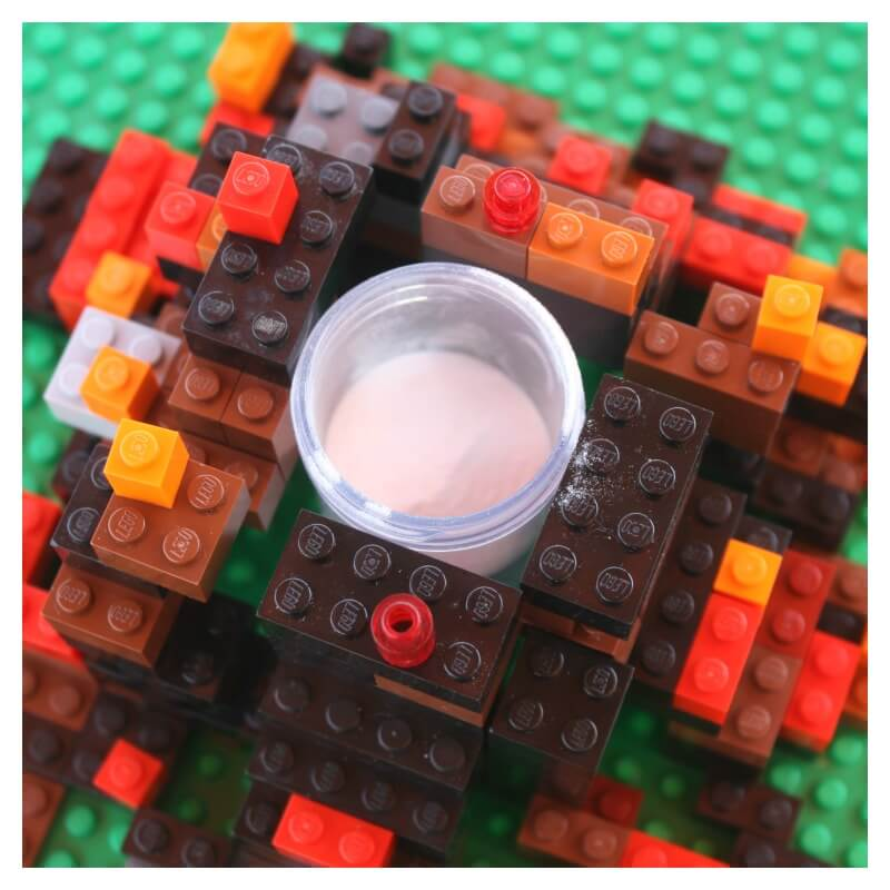 Lego Volcano Test Tube filled with baking soda