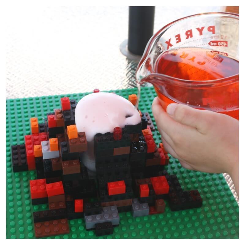 Lego Volcano baking Soda Eruption Red Vinegar lava