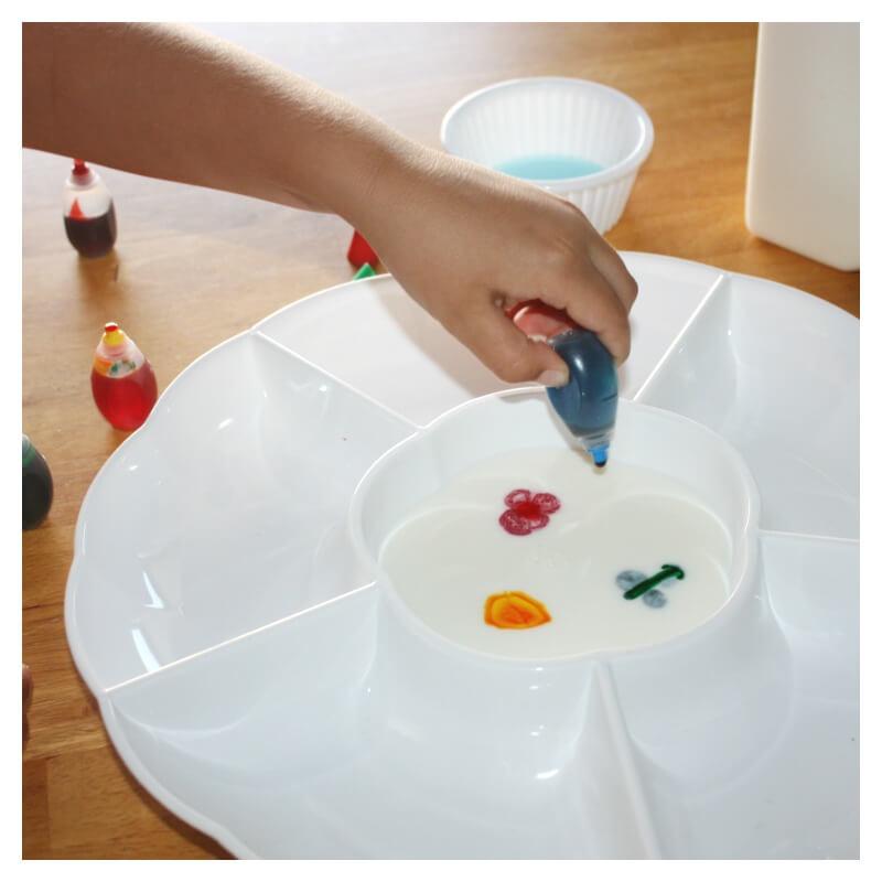 Magic Milk Adding food coloring to milk