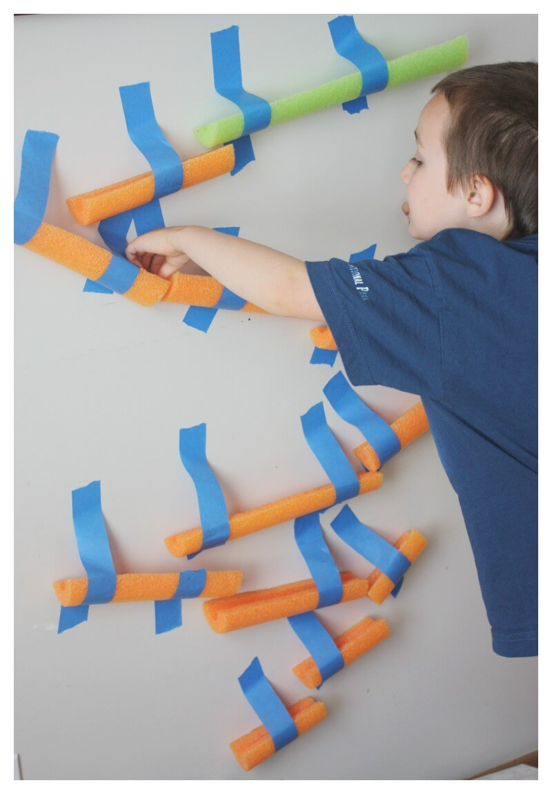 Pool Noodle Marble Run Building Activity For Kids