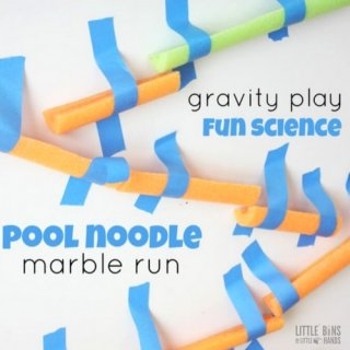 Pool Noodle STEM activity and marble run