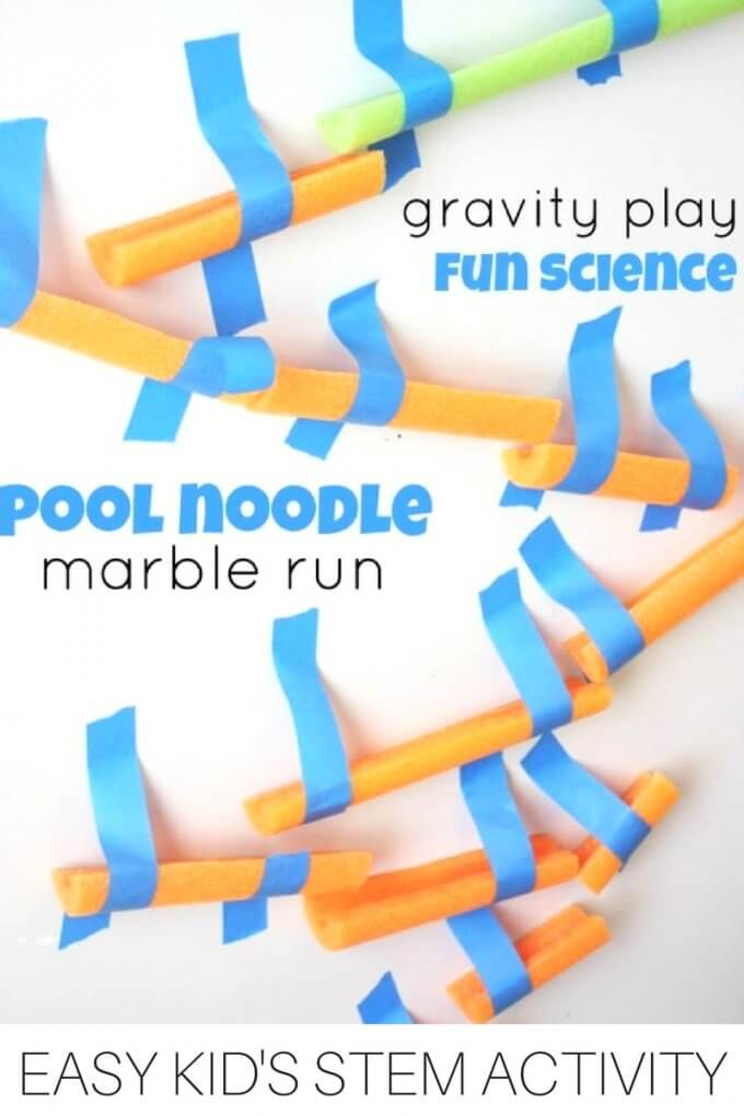 Build a pool noodle marble run for kids STEM activities and engineering projects.