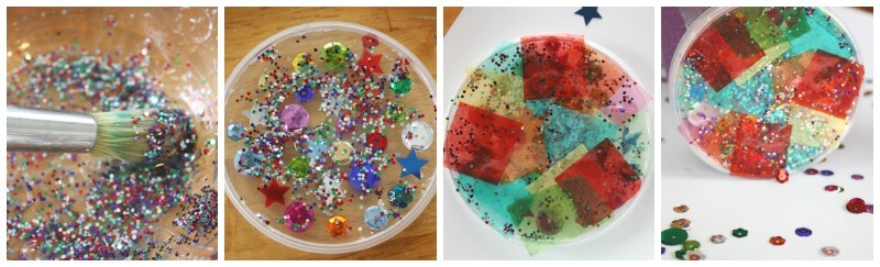 Kaleidoscope Simple Kaleidoscope Applying Glitter Glue and tissue paper to pringles can lid