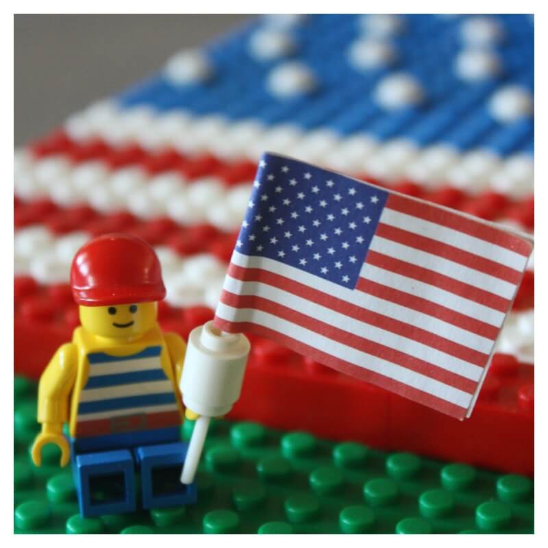Lego American Flag Minifigure with Flag 4th of July Idea