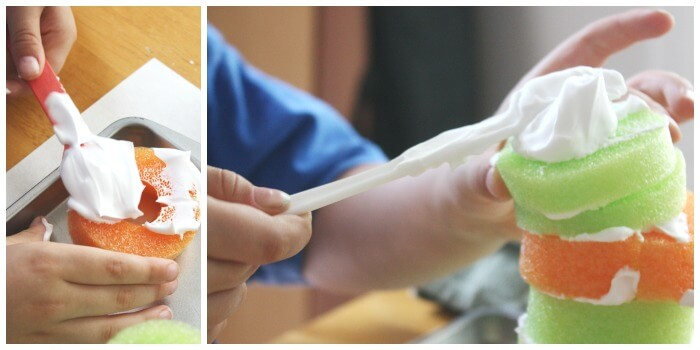 Pool Noodle Shaving Cream Spreading Activity Fine Motor Skills