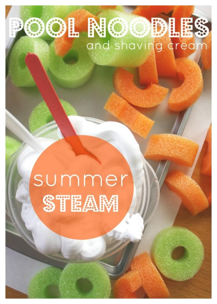 Pool Noodles and Shaving Cream Building Summer STEAM  Activity