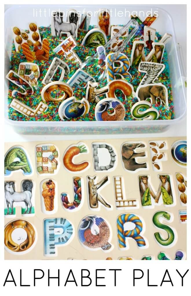 Alphabet Puzzle Play Activity with Sensory Bin