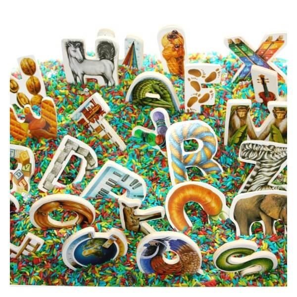 Alphabet Puzzle Sensory Bin with Rainbow Rice
