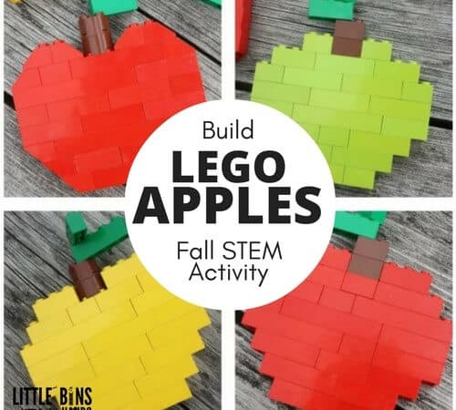 Build LEGO Apples for Kids Back to School Fall Activity