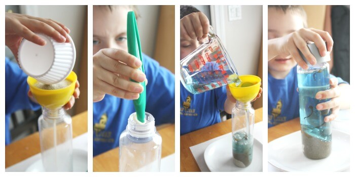 Making A Beach Discovery Bottle Fine Motor Skills Activity